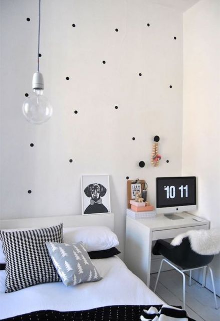 quarto branco e preto