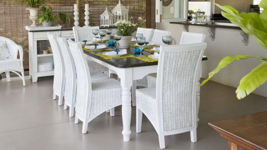mesas de vime branca para jantar