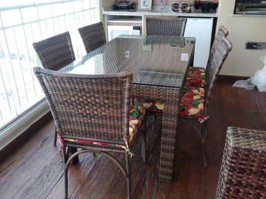mesas de vime quadrada