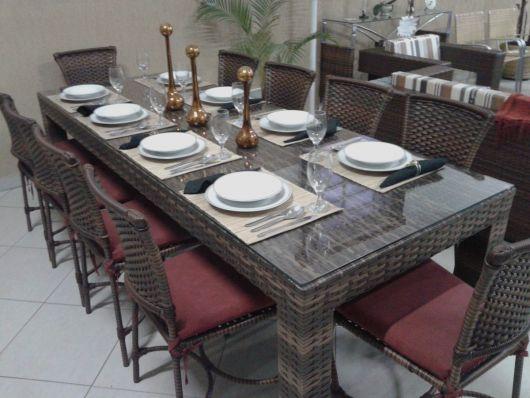 mesas de vime para jantas