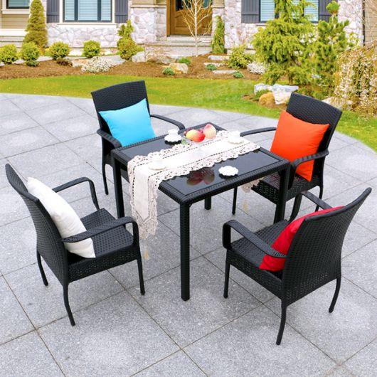 mesas de vime preta para ar livre