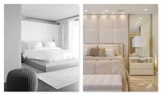 Quarto clean com cama branca.