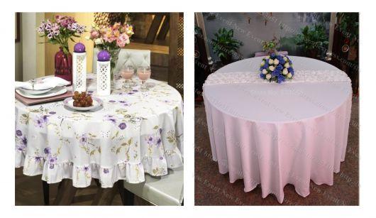 Toalha de mesa redonda branca.