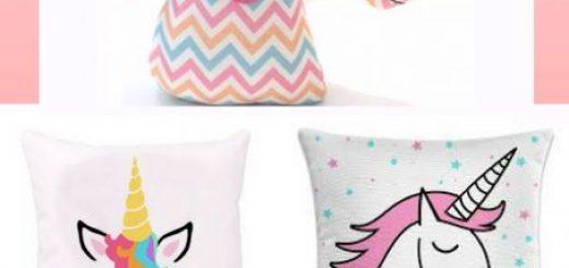 inspirações de almofadas unicórnio coloridas.