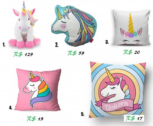 Almofadas de unicórnio coloridas com respectivos preços abaixo.