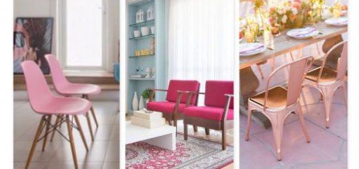 Cadeira rosa.
