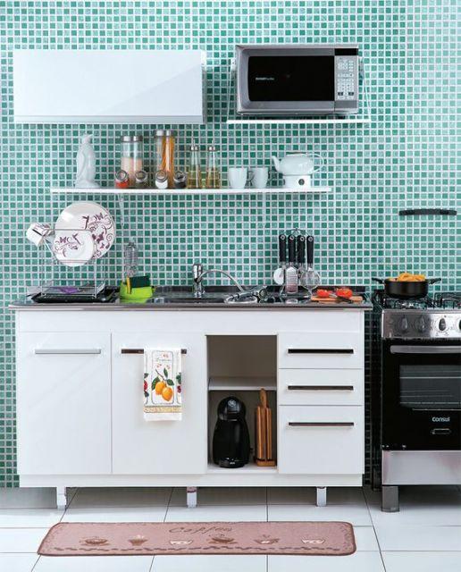 cozinha de aço branca