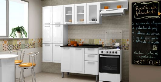 cozinha com armários modulares