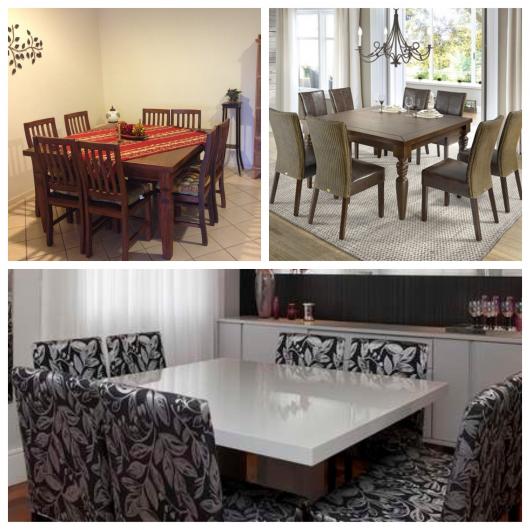Mesas com 8 cadeiras quadradas