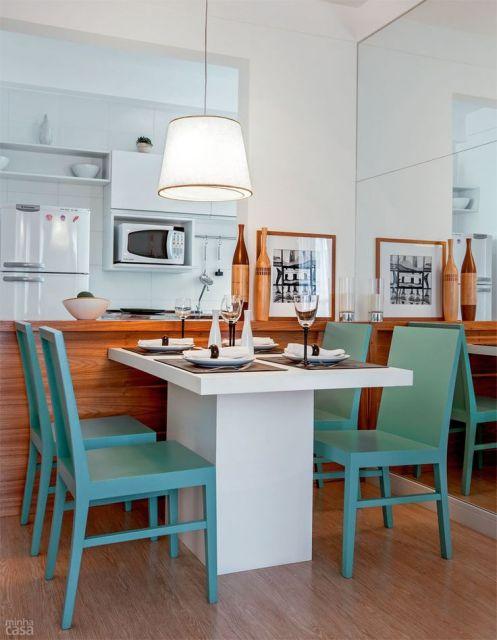 mesa de jantar retangular branca