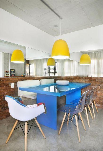 mesa de jantar  azul