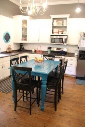 mesa de jantar quadrada azul