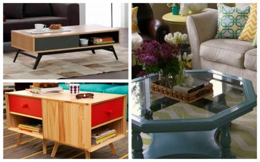 Há diversos formatos de mesa de centro vintage