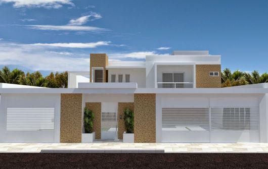Modelo de muro branco com tijolinho a vista
