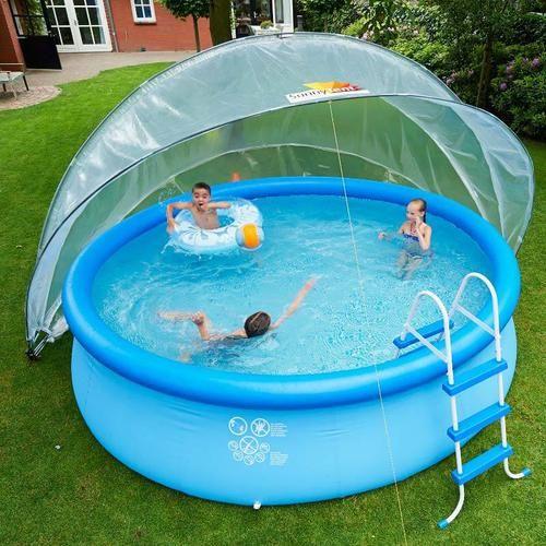 piscina redonda com cobertura