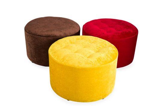 puffs redondos capitone amarelo, vermelho e marrom.