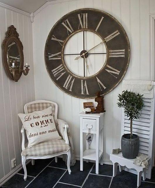 Rel gio de parede grande como usar na decora o com 50 - Relojes rusticos de pared ...