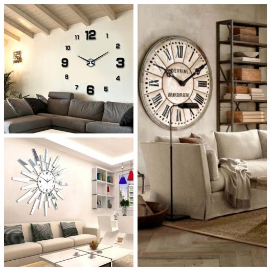 Sala com relógio de parede
