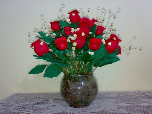 Rosa de EVA botão vermelho em vaso