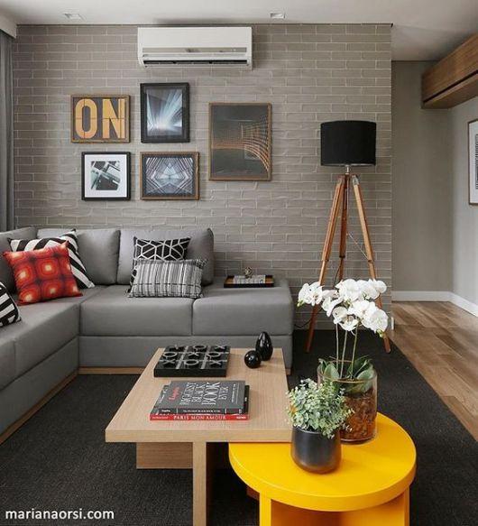 sofá de canto cinza