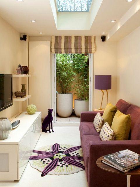 sofá roxo decoração