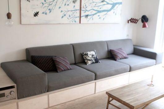 sofá planejado cinza