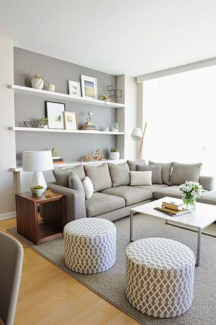 sofá cinza em L
