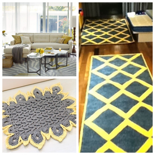 Modelos de tapete cinza com amarelo