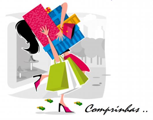 ilustraçao de figura segurando sacolinhas coloridas de compras.