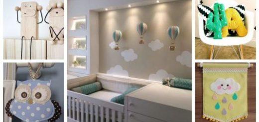 Montagem com cinco imagens de enfeites para quarto de bebê.