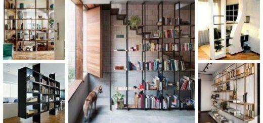 Montagem com cinco exemplos de estantes vazadas.