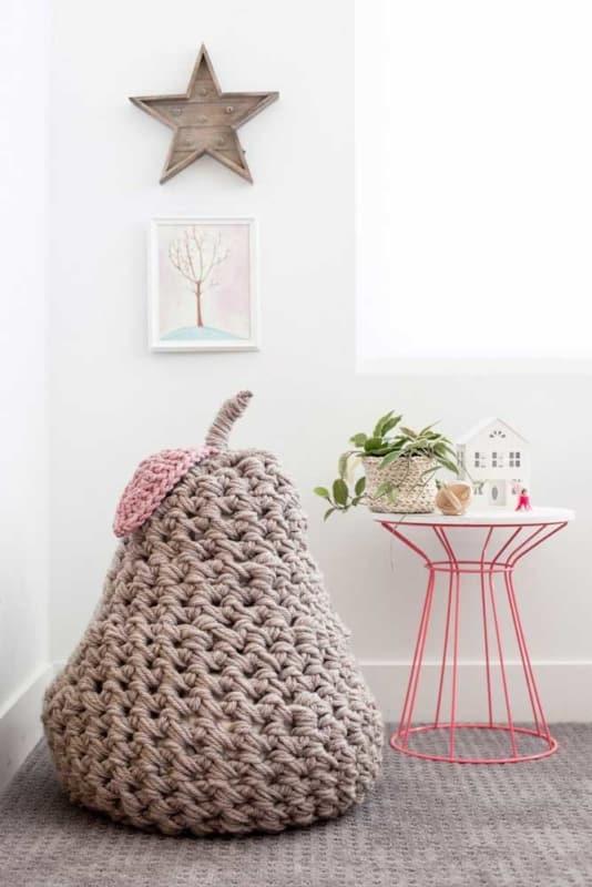 Modelos de puffs gigantes de crochê e tricô
