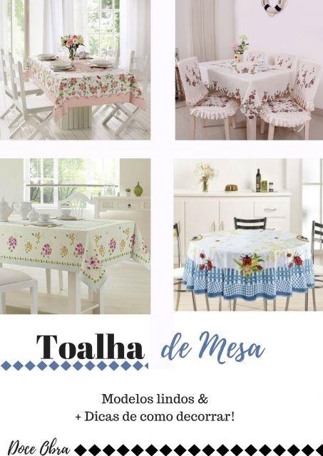 modelos de toalhas de mesa nas cores azul, verde e branco, floral e estampada.