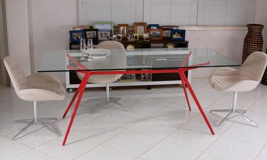 Base moderna vermelha para tampo de vidro