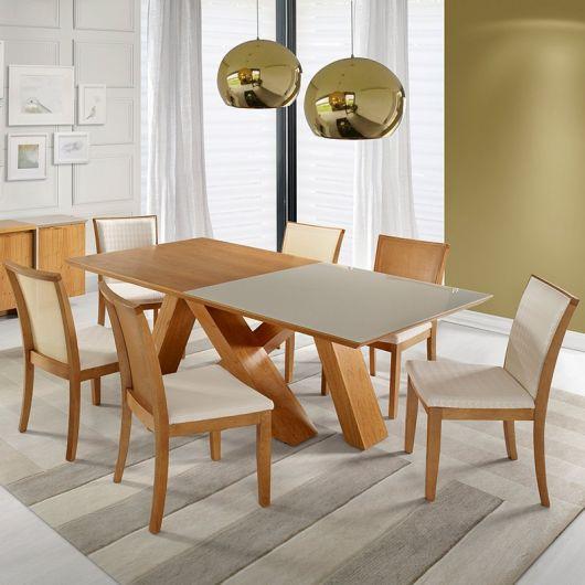 Mesa de madeira retangular com base do mesmo material