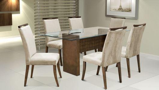 Mesa de vidro simples com base de madeira