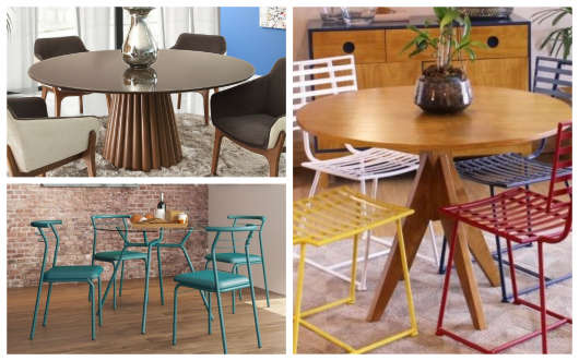 Diversos modelos de base para mesa de jantar redonda