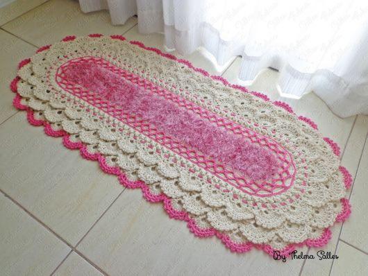 Bico de crochê rendado rosa
