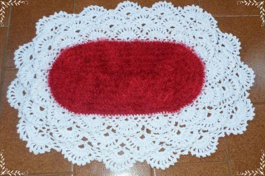 Bico de crochê rendado vermelho e branco