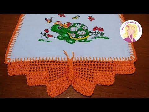 Bico de crochê de borboleta laranja