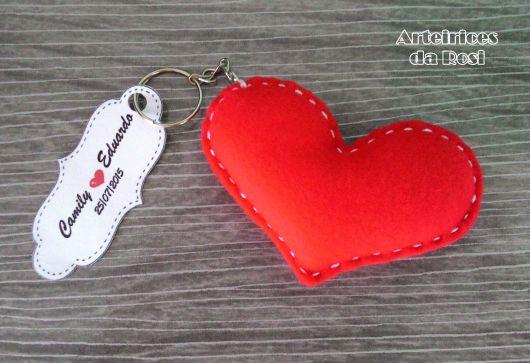 chaveiro de feltro coração