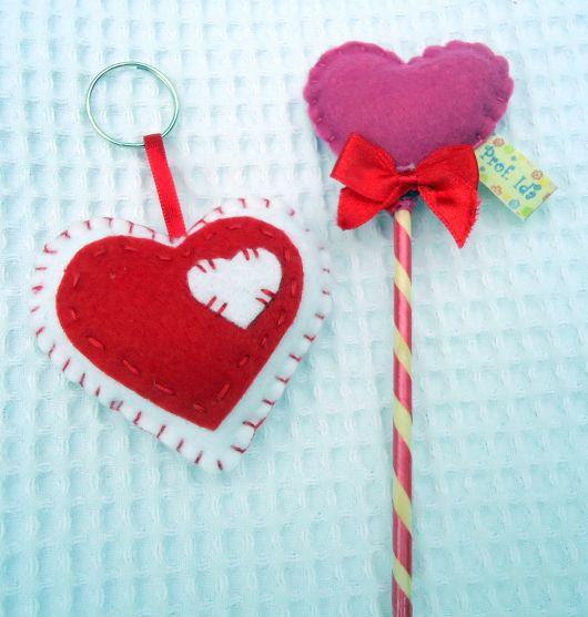 chaveiro de feltro coração vermelho