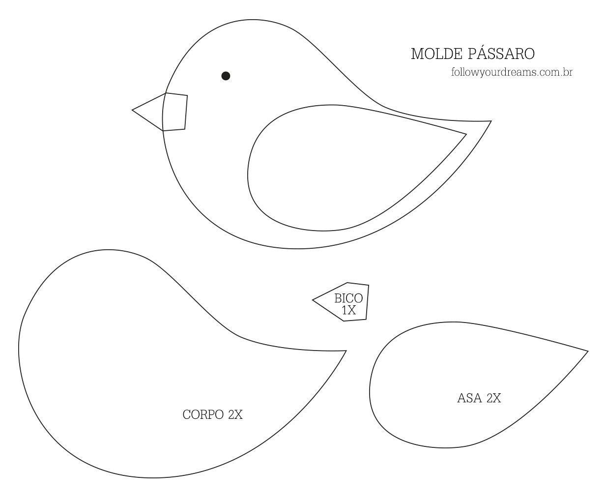 chaveiro de feltro molde passarinho