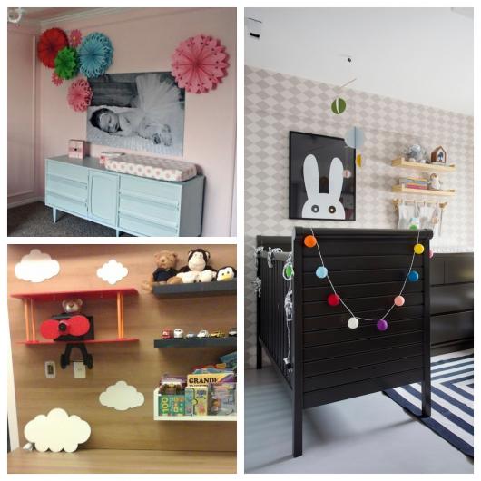 Há muitas inspirações para enfeites de quartos de bebê