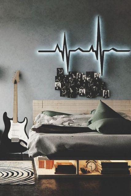 Enfeites relacionados à música para quarto masculino