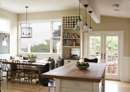 Veja como os pendentes da sala de jantar combinam com o do balcão da cozinha