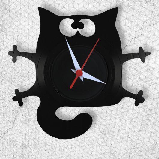 relogio de parede de gato preto.
