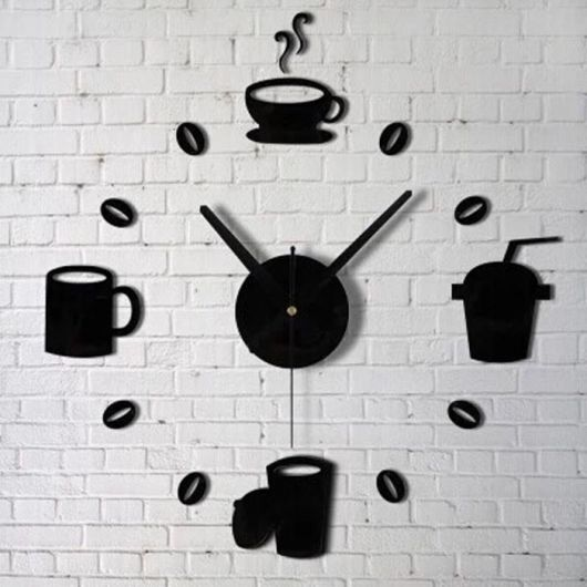 relogio de parede preto com elementos de cozinha.