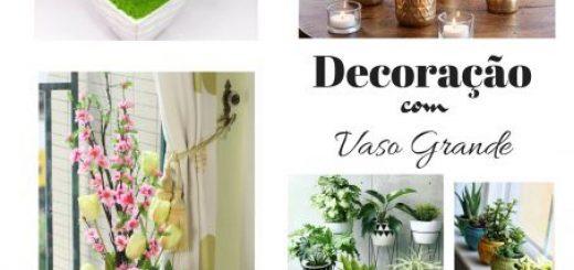 vasos grandes de decoração nas cores branco, de vidro e dourado.