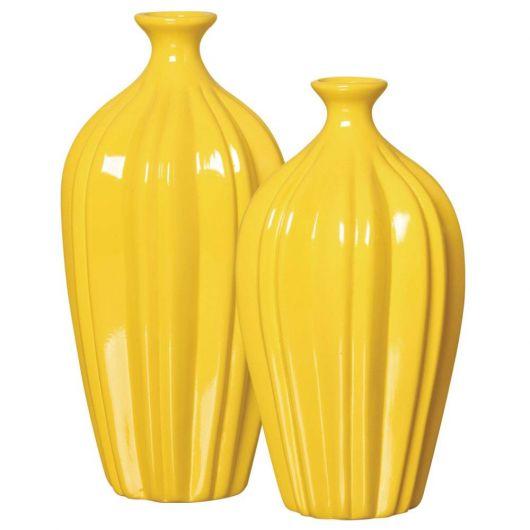 dois vasos de ceramica amarelo